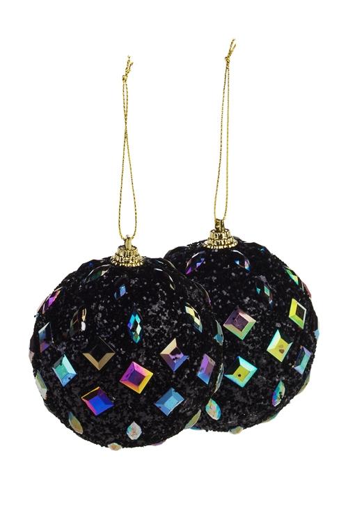 Набор шаров елочных Таинственная ночьЕлочные шары<br>Д=8см, пенопласт, черный<br>