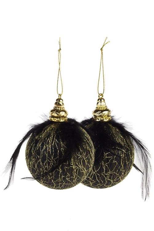 Набор шаров елочных Таинственная ночьЕлочные шары<br>Д=8см, пенопласт, черно-золот.<br>