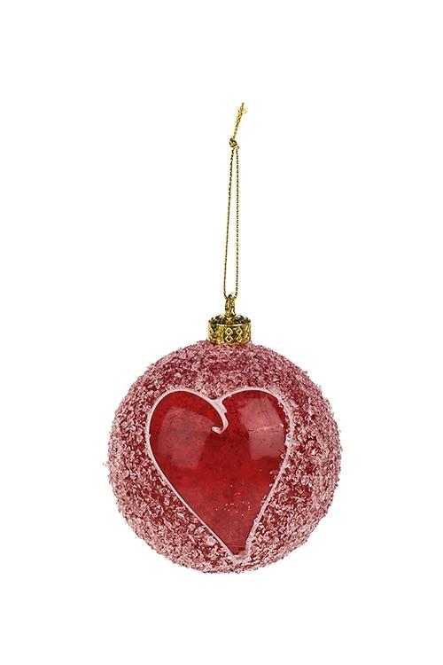 Шар елочный Пылающее сердцеЕлочные шары<br>Д=8см, пластм., бело-красный, подвесной<br>