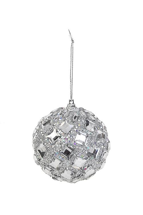 Шар елочный Сияние кристалловПодарки на Новый год 2018<br>Д=8см, пенопласт, серебр., подвесной<br>