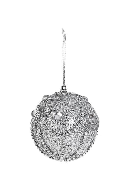 Шар елочный Сверкающий шарПодарки на Новый год 2018<br>Д=8см, пенопласт, серебр., подвесной<br>