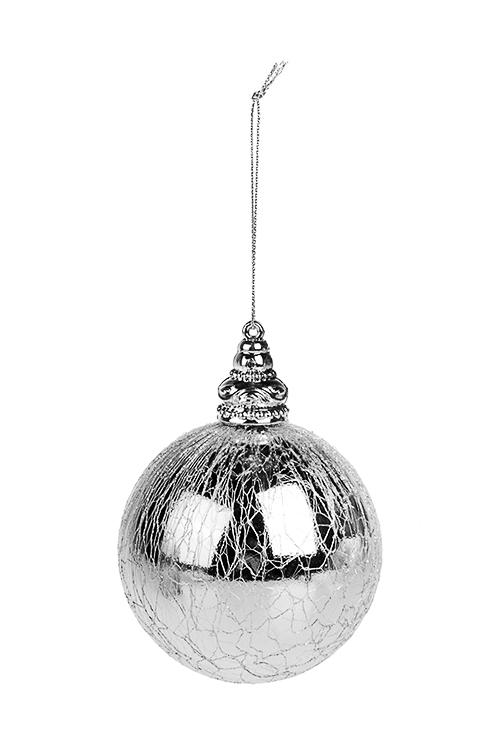 Шар елочный ПаутинкаПодарки на Новый год 2018<br>Д=8см, пластм., серебр., подвесной<br>