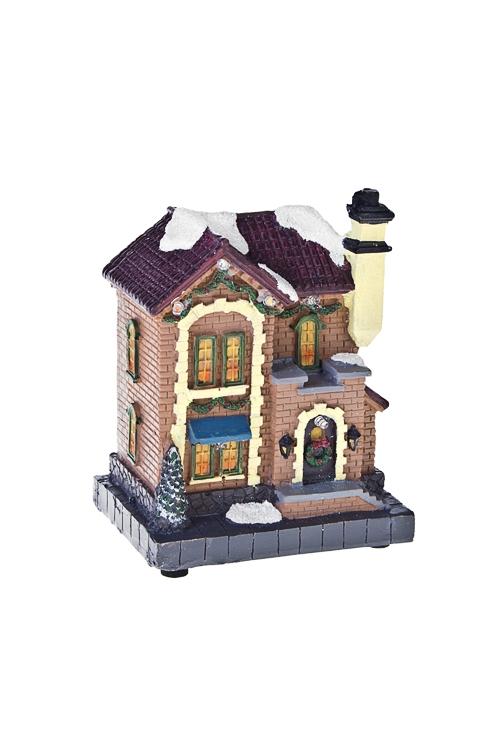 Украшение для интерьера новогоднее светящееся Домик в снегуСветящиеся украшения<br>10*7.5*13см, полирезин, на батар. (3 вида)<br>