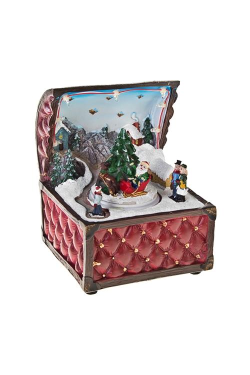 Украшение новогоднее светящееся Новогодняя ночьСветящиеся украшения<br>12*11*15.5см, полирезин, на батар.<br>