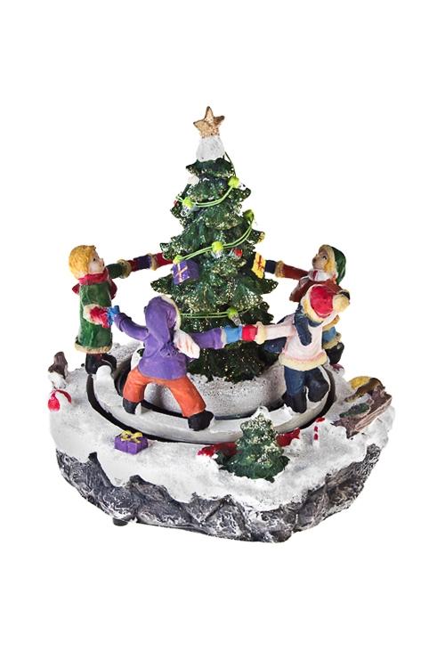 Украшение новогоднее светящееся Вокруг елкиСветящиеся украшения<br>18*18*21см, полирезин, на батар.<br>