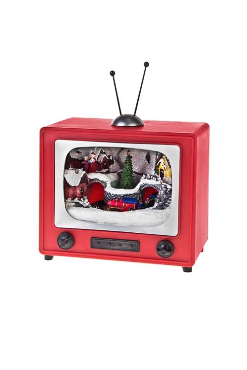 Украшение новогоднее светящееся ТелевизорСветящиеся украшения<br>Выс=15см, полирезин, пластм., на батар.<br>