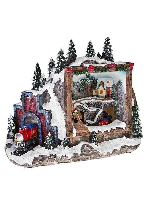 Украшение для интерьера новогоднее светящееся Домик в лесуРазвлечения и вечеринки<br>28*16*21см, полирезин, на батар.<br>