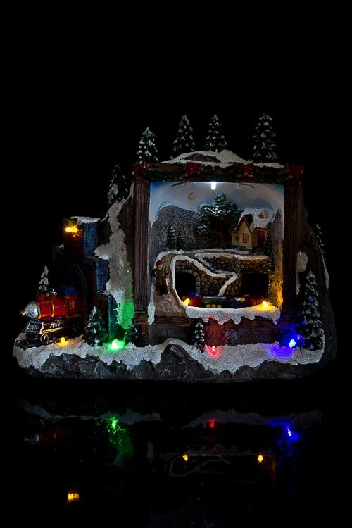 """Украшение для интерьера новогоднее светящееся """"Домик в лесу"""""""