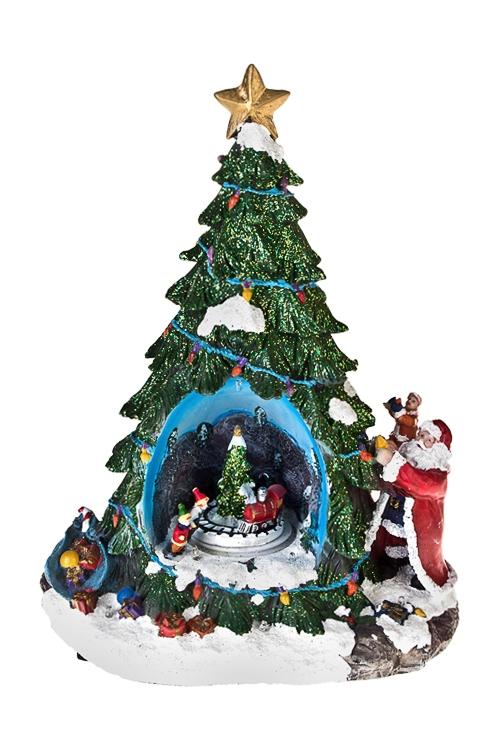 Украшение новогоднее светящееся Новогодняя елочкаРазвлечения и вечеринки<br>21*15*31см, полирезин, на батар.<br>