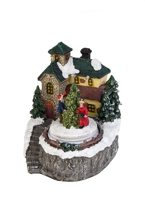Украшение новогоднее светящееся и двигающееся Домик в лесуРождественские украшения<br>11*11*14см, полирезин, на батар.<br>