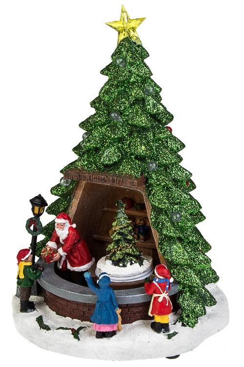 Украшение новогоднее светящееся, музыкальное и двигающееся Дед Мороз дарит подаркиРождественские украшения<br>20*20*33см, полирезин, на батар.<br>