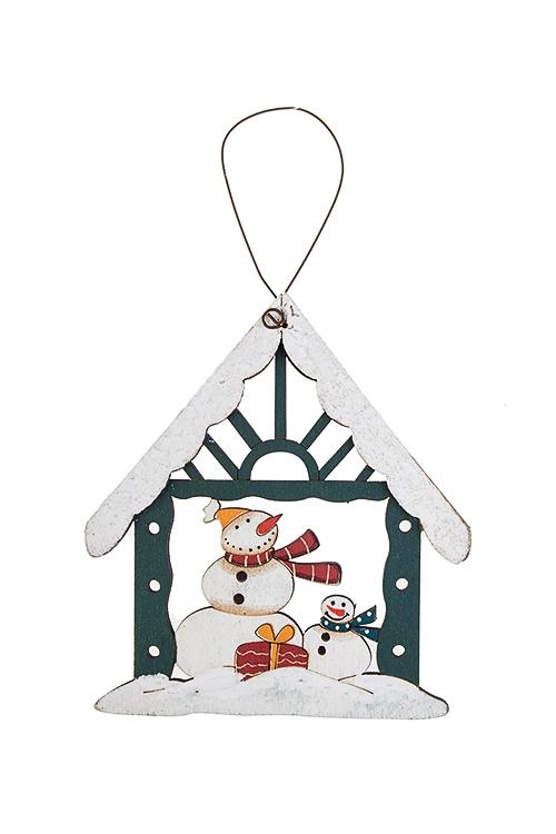Украшение новогоднее Праздничный домикСувениры и упаковка<br>Выс=11см, дерево, красно-зел.-белое, подвесное (6 видов)<br>