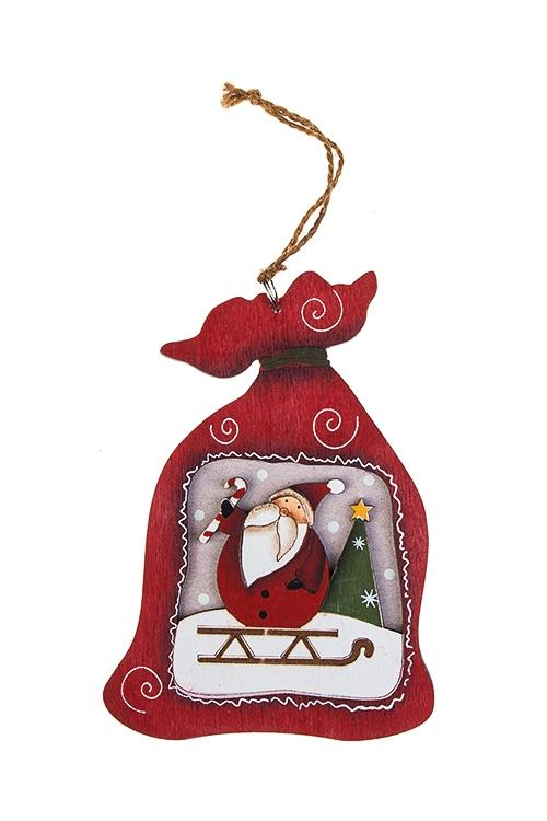 Украшение новогоднее Мешок с подаркамиСувениры и упаковка<br>Выс=12см, дерево, красно-зел.-белое, подвесное (6 видов)<br>