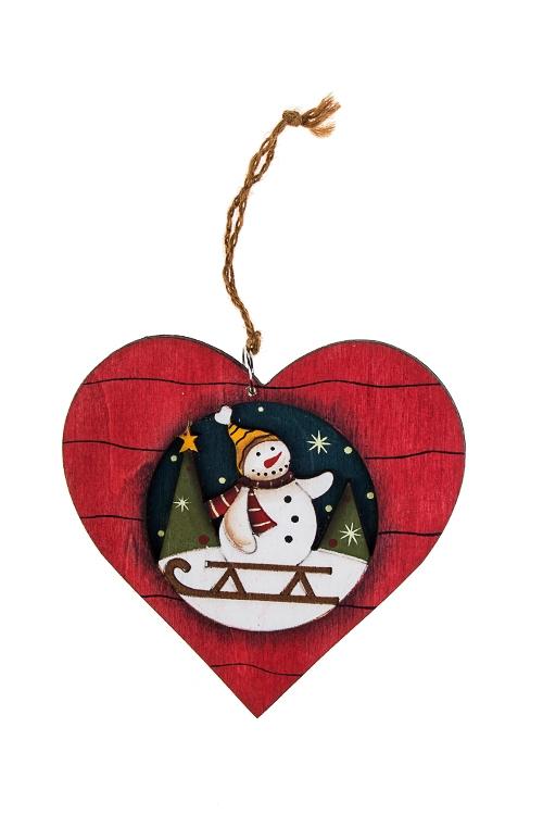 Украшение новогоднее Сердце-ЗвездаДекоративные гирлянды и подвески<br>Выс=12см, дерево, красно-зел.-белое, подвесное (6 видов)<br>