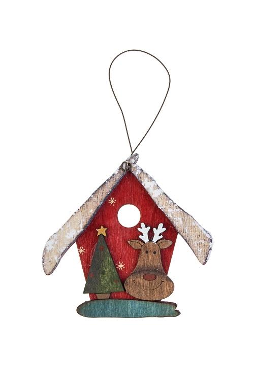 Украшение новогоднее ДомикСувениры и упаковка<br>Выс=9см, дерево, красно-зелено-белое, подвесное (4 вида)<br>