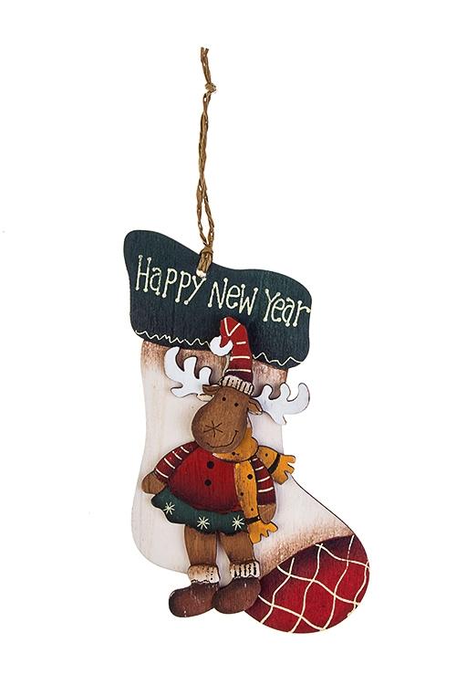 Украшение новогоднее ЛосикСувениры и упаковка<br>Выс=11см, дерево, подвесное (6 видов)<br>