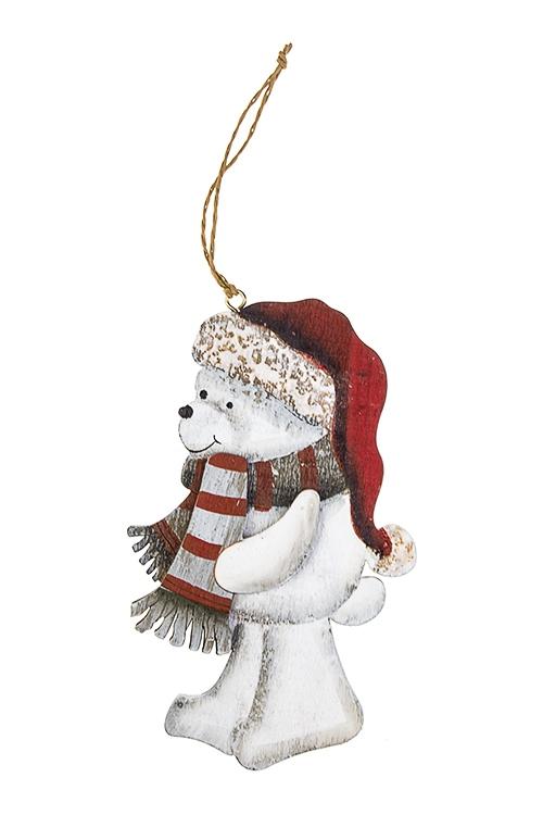 Украшение новогоднее Мишутка в шапке и шарфикеСувениры и упаковка<br>Выс=12см, дерево, бело-красное, подвесное (6 видов)<br>