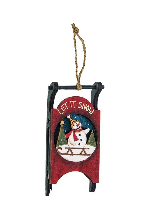 Украшение новогоднее СаниДекоративные гирлянды и подвески<br>Выс=11см, дерево, красно-зел.-белое, подвесное (6 видов)<br>