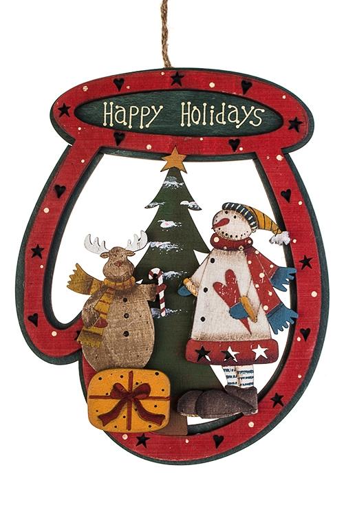 Украшение новогоднее ВарежкаДекоративные гирлянды и подвески<br>17*21см, дерево, красно-зеленое, подвесное (2 вида)<br>