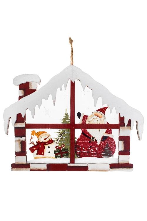 Украшение новогоднее Дед Мороз со снеговиком в домикеСувениры и упаковка<br>22.5*29см, дерево, стекло, красно-белое, подвес.<br>