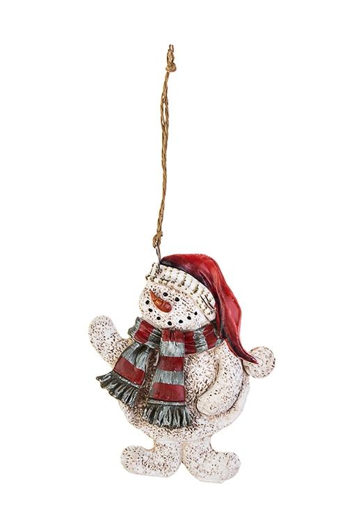 Украшение новогоднее Снеговик в шарфикеСувениры и упаковка<br>Выс=9см, полирезин, бело-красно-серое, подвесное (6 видов)<br>