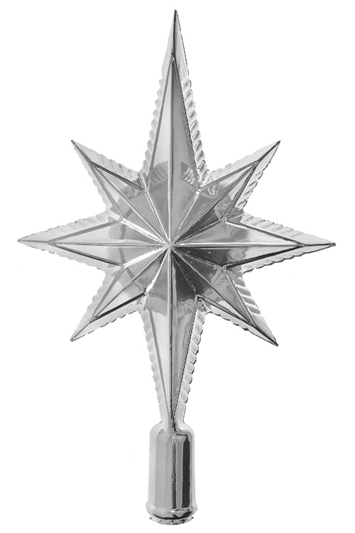 Верхушка елочная Волшебная звездаПодарки<br>Выс=25см, пласт., серебр.<br>