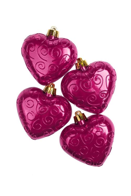 Набор украшений елочных СердцаПодарки<br>Выс=7см, пласт., малин.<br>