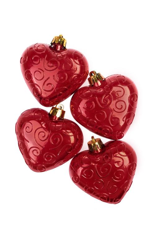 Набор украшений елочных СердцаЕлочные игрушки<br>Выс=7см, пласт., красный<br>