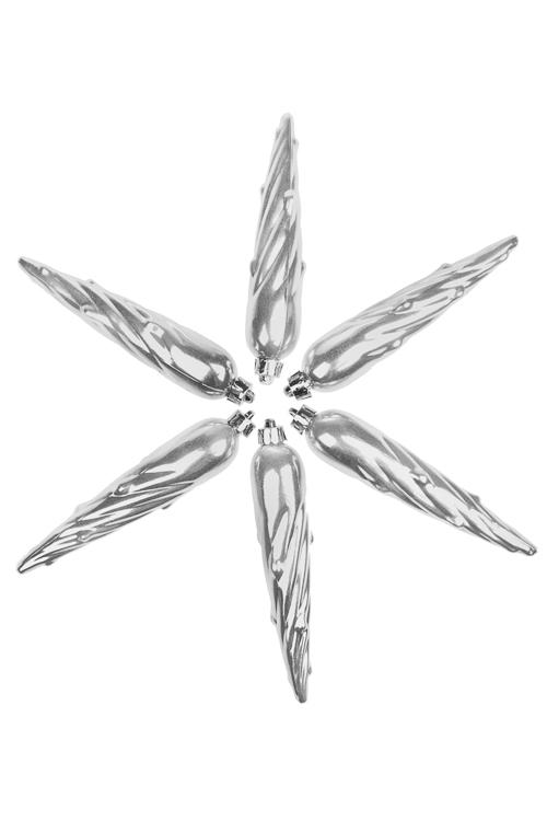 Набор украшений елочных СосулькиЕлочные игрушки<br>Выс=13см, пласт., серебр.<br>