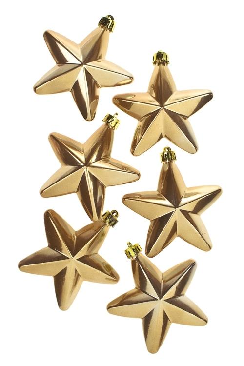 Набор украшений елочных ЗвездочкиЕлочные игрушки<br>Выс=7.5см, пласт., золот.<br>