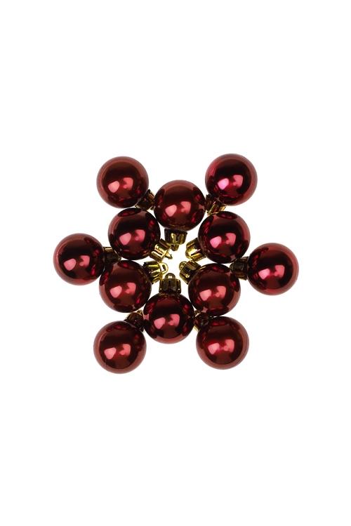 Набор шаров елочных МиниЕлочные шары<br>12-предм., Д=2.5см, пласт., борд.<br>