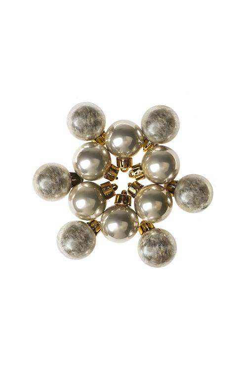 Набор шаров елочных МиниЕлочные шары<br>12-предм., Д=2.5см, пласт., крем.<br>