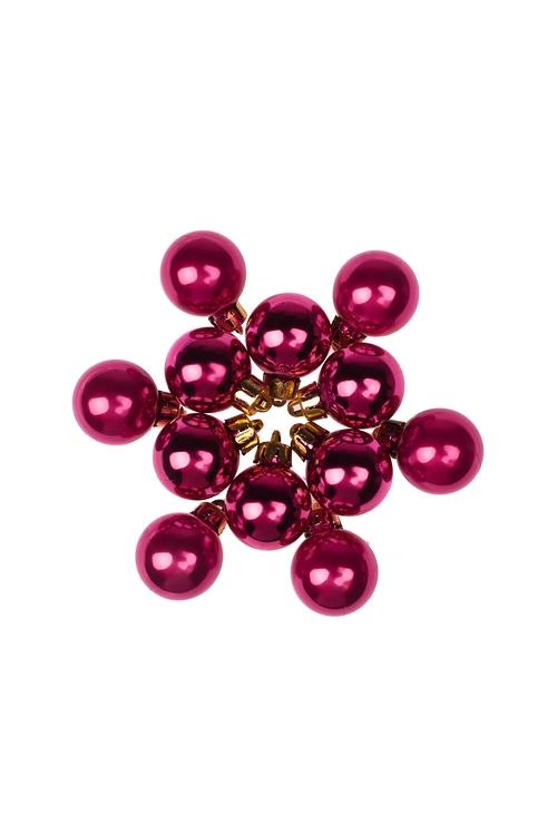 Набор шаров елочных МиниЕлочные шары<br>12-предм., Д=2.5см, пласт., малин.<br>