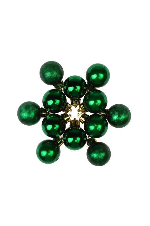 Набор шаров елочных МиниЕлочные шары<br>12-предм., Д=2.5см, пласт., зеленый<br>