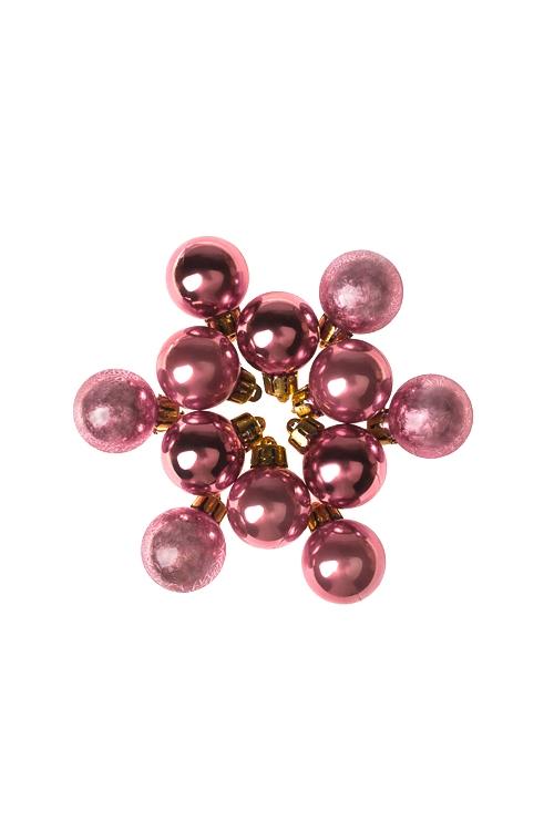 Набор шаров елочных МиниЕлочные шары<br>12-предм., Д=2.5см, пласт., светло-золот.<br>