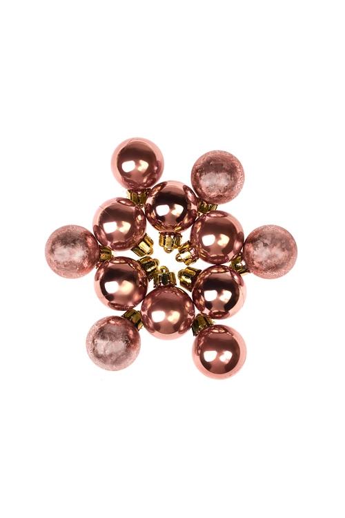 Набор шаров елочных МиниПодарки<br>12-предм., Д=2.5см, пласт., тепло-розовый<br>