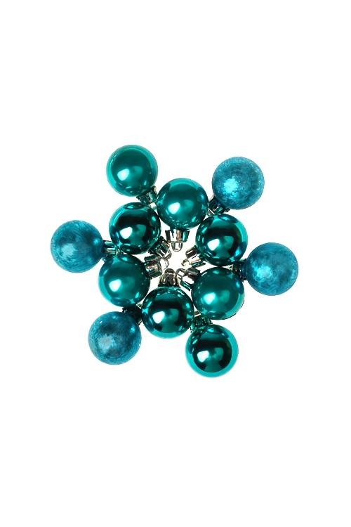 Набор шаров елочных МиниПодарки<br>12-предм., Д=2.5см, пласт., бирюз.<br>