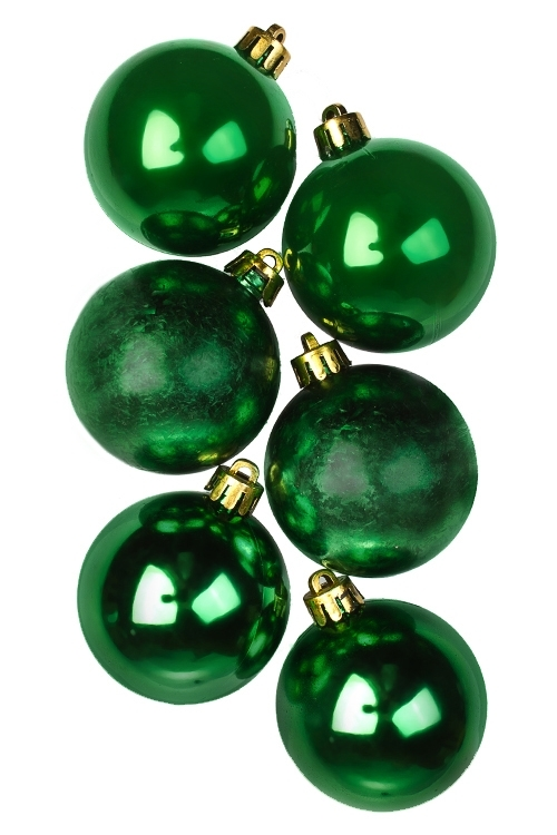 Набор шаров елочных КлассикаЕлочные шары<br>6-предм., Д=5см, пласт., зеленый<br>