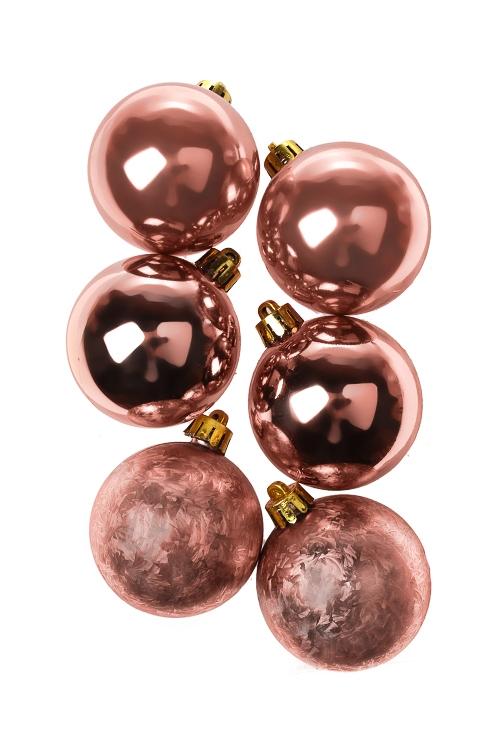Набор шаров елочных КлассикаЕлочные шары<br>6-предм., Д=5см, пласт., тепло-розовый<br>
