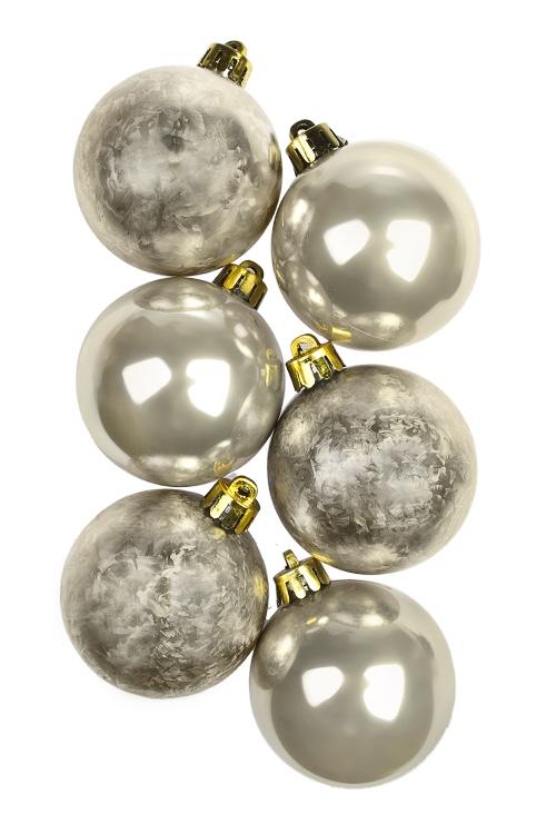 Набор шаров елочных КлассикаПодарки<br>6-предм., Д=5см, пласт., крем.<br>