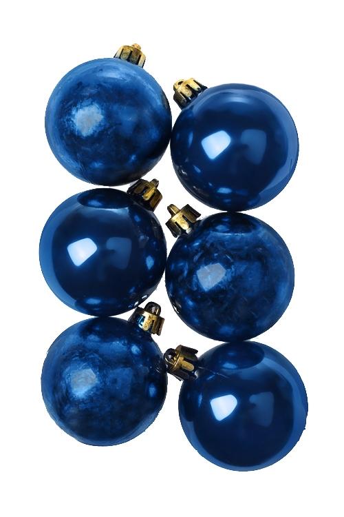 Набор шаров елочных КлассикаПодарки<br>6-предм., Д=5см, пласт., синий<br>