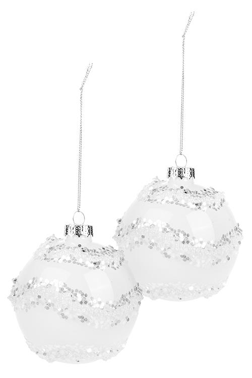 Набор шаров елочных НежностьЕлочные шары<br>2-предм., Д=8см, стекло, бело-серебр.<br>