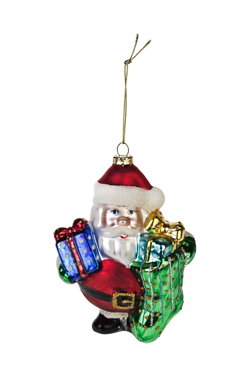 Украшение елочное Дед Мороз с подаркамиПодарки<br>Выс=13см, стекло<br>