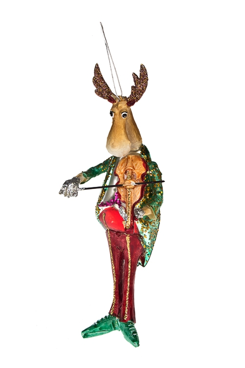 Украшение елочное Олень со скрипкойЕлочные игрушки<br>Выс=17см, стекло, полирезин<br>