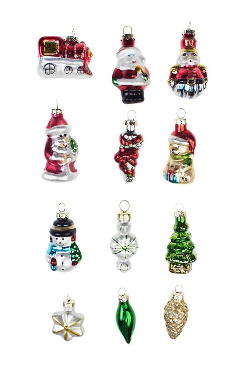 Набор украшений елочных Новогодняя сказкаЕлочные игрушки<br>Выс=5см, стекло<br>