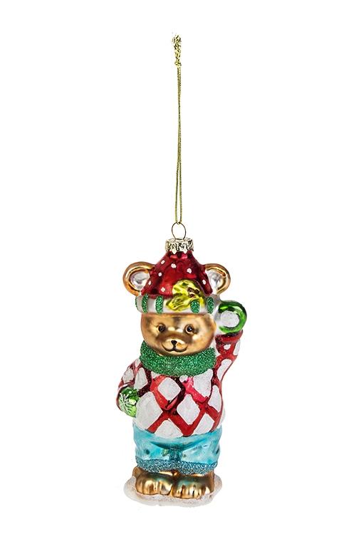Украшение елочное Мишка в свитереСтеклянные елочные игрушки<br>7*4*13см, стекло, полирезин, разноцв.<br>