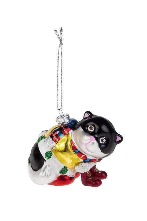 Украшение елочное Кот в сапогахСтеклянные елочные игрушки<br>10*8см, стекло, полирезин<br>