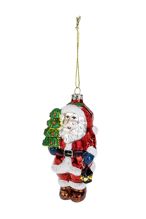 Украшение елочное Дед Мороз с елочкой и фонарикомПодарки на Новый год 2018<br>6*5*13см, стекло<br>
