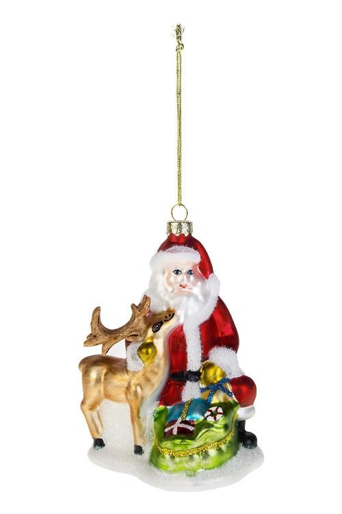 Украшение елочное Дед Мороз с оленем и подаркамиСтеклянные елочные игрушки<br>Выс=13см, стекло, полирезин<br>