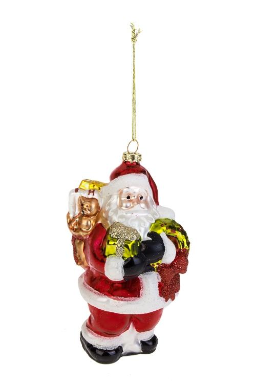 Украшение елочное Дед Мороз с мишуткой и подаркамиСтеклянные елочные игрушки<br>8*8*15см, стекло<br>